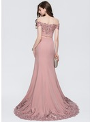 Trumpet/Mermaid Off-the-Shoulder Sweep Train Stretch Crepe Prom Dresses With Lace Beading Sequins