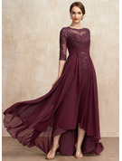 A-Line Scoop Neck Asymmetrical Chiffon Lace Cocktail Dress With Ruffle Sequins
