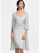 Polyester With Lace Knee Length Dress (Two Pieces )