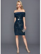 Sheath/Column Off-the-Shoulder Knee-Length Lace Cocktail Dress With Beading Sequins