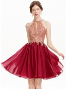A-Line/Princess Scoop Neck Knee-Length Chiffon Prom Dresses With Beading