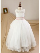 Ball Gown Floor-length Flower Girl Dress - Tulle/Lace Sleeveless Scoop Neck With Sash/Bow(s)