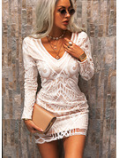 Lace Solid Bodycon V-Neck Long Sleeves Midi Elegant Dresses