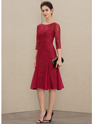 Scoop Neck Knee-Length Lace Mother of the Bride Dress