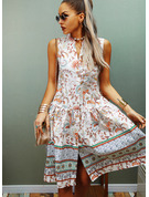 Floral Print Shift V-Neck Sleeveless Midi Boho Casual Vacation Tank Dresses