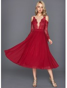 A-Line/Princess Scoop Neck Tea-Length Chiffon Cocktail Dress With Ruffle