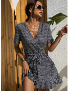 Print Sheath V-Neck Short Sleeves Midi Casual Elegant Wrap Dresses