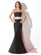 Trumpet/Mermaid Strapless Floor-length Taffeta Bridesmaid Dress With Sash