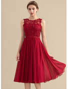 A-Line Scoop Neck Knee-Length Chiffon Lace Bridesmaid Dress With Beading Sequins