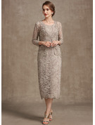 Sheath/Column Scoop Neck Tea-Length Lace Mother of the Bride Dress With Sequins