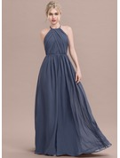 Scoop Neck Floor-Length Chiffon Evening Dress With Ruffle