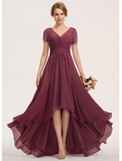 V-neck Asymmetrical Chiffon Lace Bridesmaid Dress