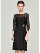 A-Line/Princess Scoop Neck Knee-Length Chiffon Lace Mother of the Bride Dress With Ruffle Beading Sequins