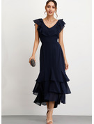 A-Line V-neck Ankle-Length Chiffon Cocktail Dress With Cascading Ruffles