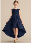 A-Line Scoop Neck Asymmetrical Lace Satin Chiffon Junior Bridesmaid Dress With Bow(s)