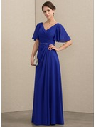 V-neck Floor-Length Chiffon Mother of the Bride Dress With Beading Sequins