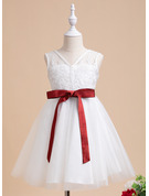 A-Line Knee-length Flower Girl Dress - Tulle Sleeveless V-neck With Sash