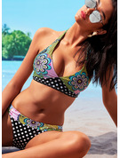 Plus Size Beautiful Floral Polyester Spandex Bikinis