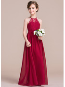 A-Line/Princess Floor-length Flower Girl Dress - Chiffon Lace Sleeveless Scoop Neck