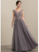 A-Line/Princess V-neck Floor-Length Tulle Lace Mother of the Bride Dress With Sequins