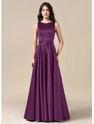 A-Line/Princess Scoop Neck Floor-Length Satin Bridesmaid Dress