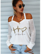 Regular Cotton Blends Cold Shoulder Figure Print Heart Fitted Blouses