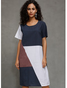 Cotton Blends With Color-block Midi Dress