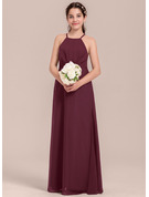 Square Neckline Floor-Length Chiffon Junior Bridesmaid Dress With Ruffle