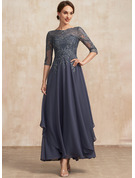 A-Line Scoop Neck Ankle-Length Chiffon Lace Cocktail Dress With Cascading Ruffles