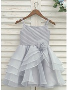 Knee-length Flower Girl Dress - Organza Satin Sleeveless Straps