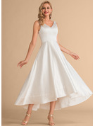 V-neck Asymmetrical Satin Wedding Dress
