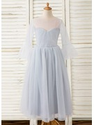 A-Line Ankle-length Flower Girl Dress - Tulle 3/4 Sleeves Scoop Neck With Pleated
