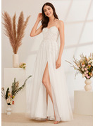 A-Line Sweetheart Floor-Length Wedding Dress With Beading Sequins Split Front