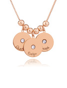 Custom 18k Rose Gold Plated Silver Engraving/Engraved Three Birthstone Necklace Circle Necklace With Kids Names - Christmas Gifts