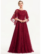 A-Line Scoop Neck Floor-Length Lace Evening Dress
