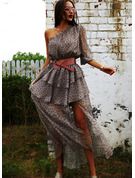 One Shoulder 1/2 Sleeves Maxi Dresses