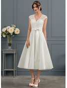 V-neck Tea-Length Satin Wedding Dress