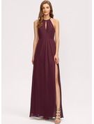 Scoop Neck Floor-Length Chiffon Bridesmaid Dress With Ruffle Split Front