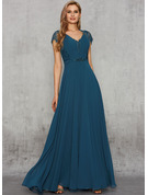 A-Line V-neck Floor-Length Chiffon Evening Dress With Lace Beading