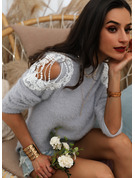 Cold Shoulder Long Sleeves Solid Casual Pullovers