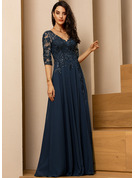 A-Line V-neck Floor-Length Evening Dress With Lace Sequins