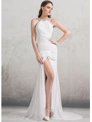 Trumpet/Mermaid Scoop Neck Court Train Chiffon Wedding Dress With Ruffle Beading Split Front