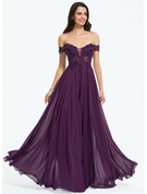 Off-the-Shoulder Floor-Length Chiffon Prom Dresses