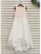 A-Line/Princess Asymmetrical Flower Girl Dress - Tulle/Lace Sleeveless Scoop Neck With Lace