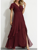 Polyester With Ruffles/Solid/Slit Maxi Dress