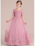 Ball-Gown/Princess Floor-length Flower Girl Dress - 1/2 Sleeves Scoop Neck With Sequins