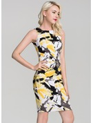 Polyester With Stitching/Print/Crumple Above Knee Dress