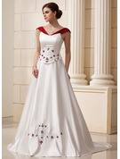 Chapel Train Satin Wedding Dress With Beading Flower(s)