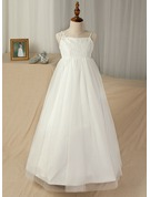 A-Line/Princess Floor-length Flower Girl Dress - Tulle/Lace Sleeveless Straps With Appliques