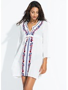 Elegant Floral Cotton Cover-ups Swimsuit